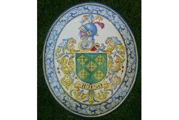 Heraldica ovalo de 60cm greca de renacimiento y escudo