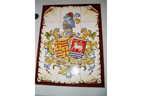 Heraldico en azulejos de en 15x15cm  medida 60x45cm
