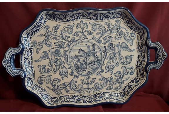 Bandeja asas 53cm decorada en renacimiento azul motivo quijote