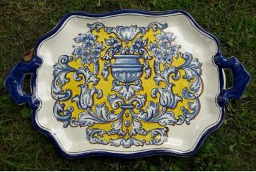 Bandeja asas 53cm decorada en renacimiento azul y amarillo