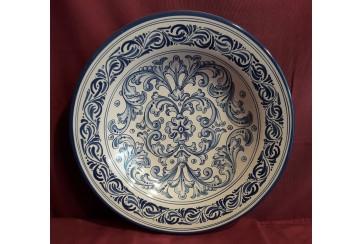 Plato hondo 35cm  decorado en renacimiento azul