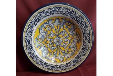 Plato  hondo 35cm decorado en renacimiento azul y amarillo