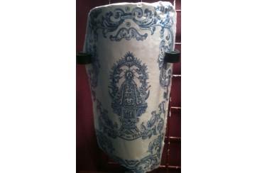 Teja decorada en renacimiento azul y virgen