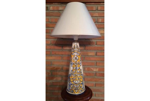 Lampara cono 40cm decorada en renacimiento azul y amarillo